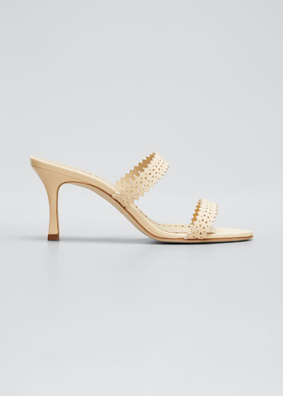 Riesamu Two-Band Perforated Leather Heeled Sandals
