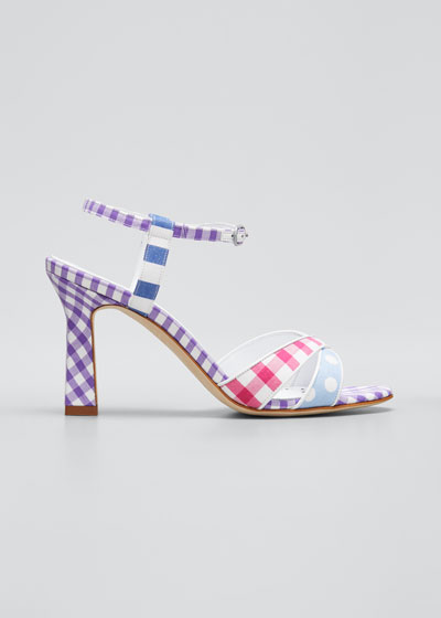 Fluida Mixed Pattern Ankle-Strap Sandals