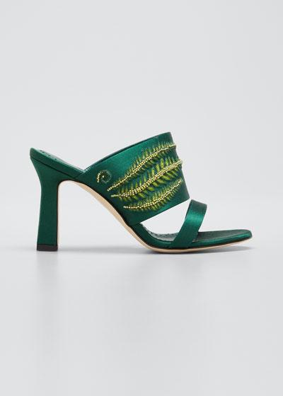 Osmunda Embroidered Slide Sandals