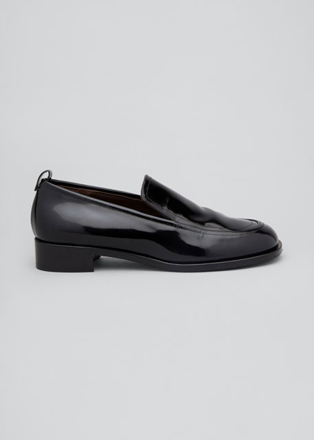 Shiny Leather Penny Loafers
