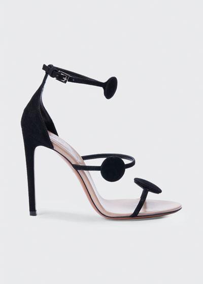 105mm Suede Dot 3-Strap Heeled Sandals