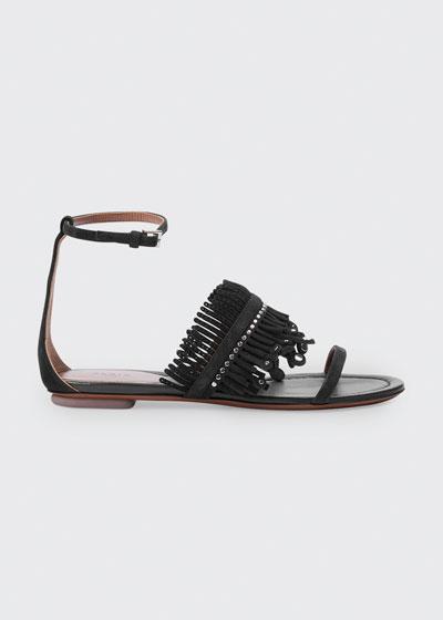 Suede Fringe Flat Sandals