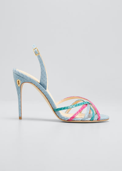 Colorblock Snake-Print Slingback Sandals