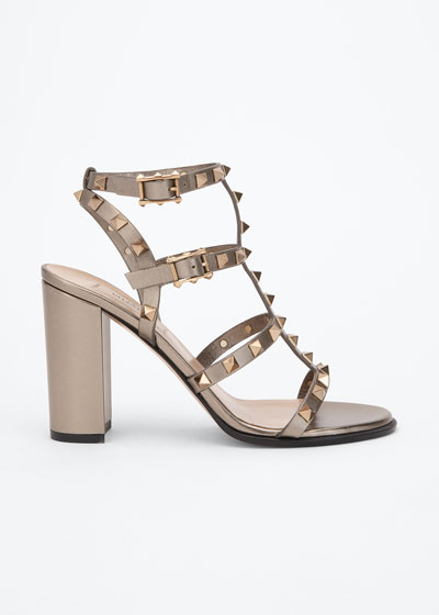 Rockstud Metallic Leather City Sandals