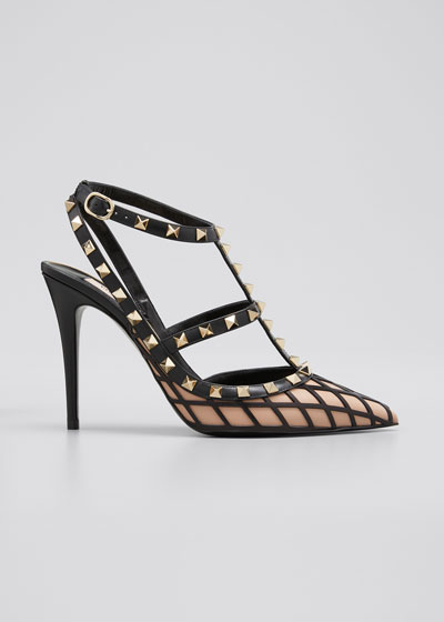 Beehive Rockstud 100mm Bicolor T-Strap Cage Pumps