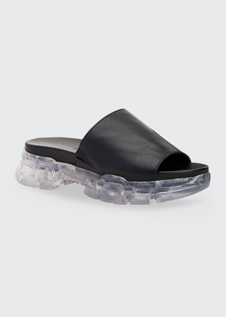 Desiree Leather Clear-Sole Slide Sandals