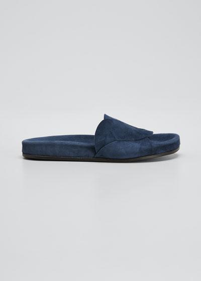 Ivey Suede Slide Sandals  Indigo