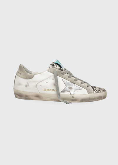Superstar Leather Sneakers with Snake-Print Cap Toe
