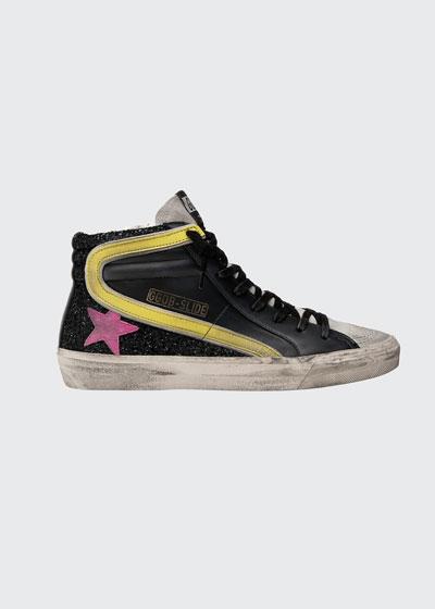 Slide Leather/Fabric Zip High-Top Sneakers