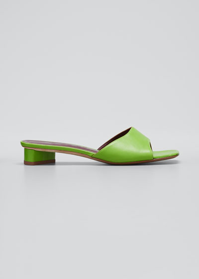 25mm Asymmetric-Heel Leather Slide Sandals