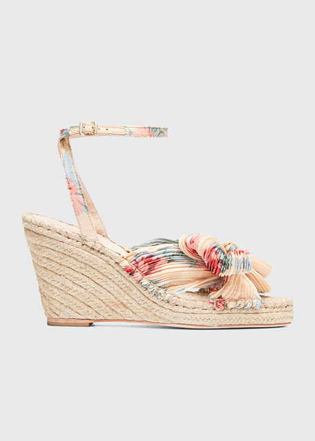 Image 1 of 1: Charley Pleated Bow Wedge Sandals