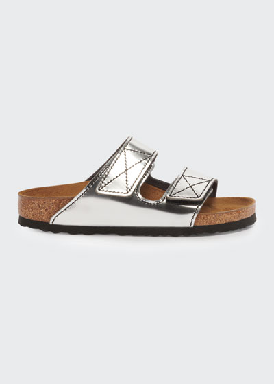 x Proenza Schouler Arizona Metallic Double Grip-Strap Slide Sandals