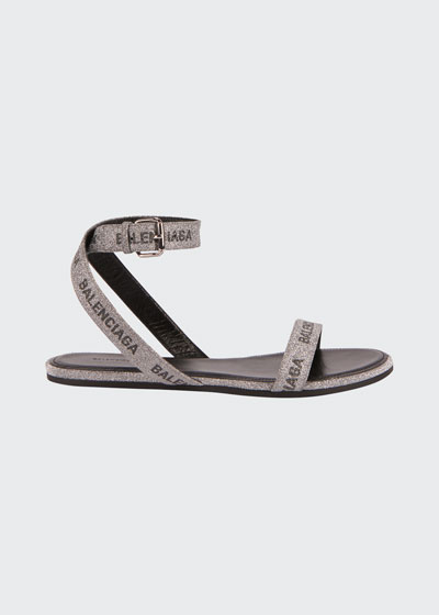 Round Flat Leather Logo Ankle-Wrap Sandals