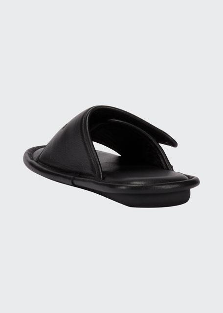Logo-Stamped Leather Slide Sandals