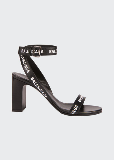Round 80mm Logo Leather Ankle-Wrap Sandals