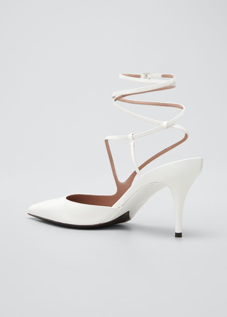 Date Night Ankle-Wrap Leather Pumps