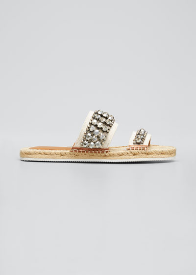 Embellished Two-Band Espadrille Slide Sandals