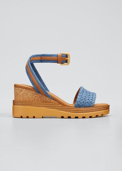 Robin 50mm Ankle Strap Cork Wedge Sandals