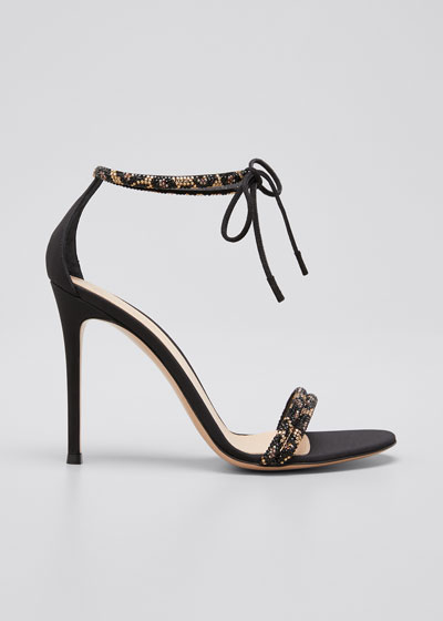 Leo 105mm Beaded Ankle-Tie Sandals