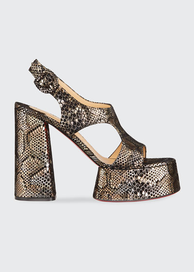 Foolish Metallic Snake-Print Red Sole Platform Sandals