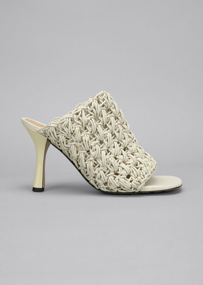 90mm Crochet Napa Mule Sandals