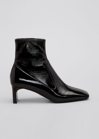 Square-Toe Ankle Zip Booties