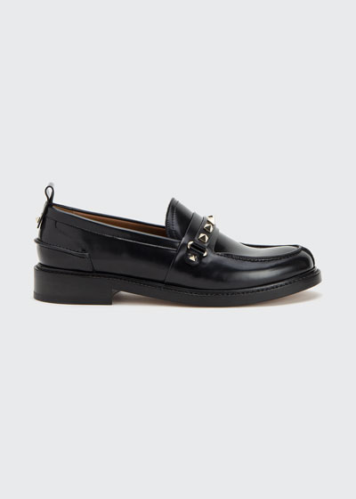 30mm Leather Rockstud Buckle Loafers