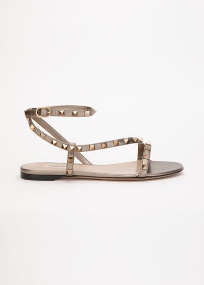 Rockstud Flat Metallic Asymmetric Ankle-Strap Sandal