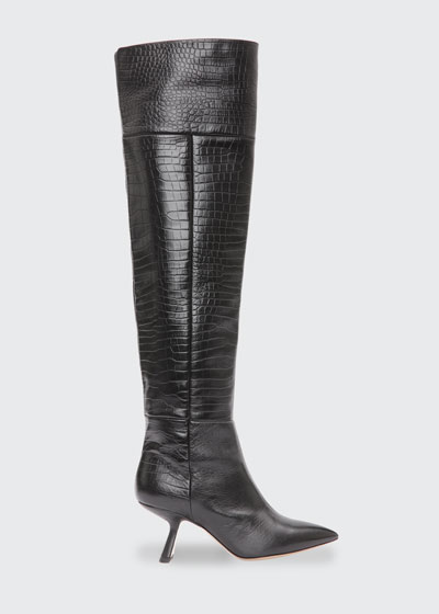 Lexi Mock-Croc Over-the-Knee Boots