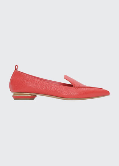 Beya Flat Pebbled Leather Loafers