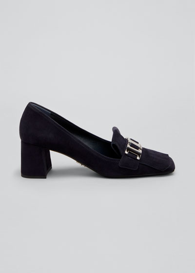55mm Suede Chain Loafer Pumps