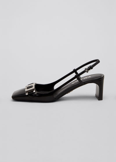 55mm Leather Square-Toe Slingback Pumps with Chain