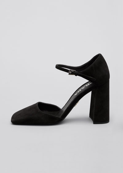 95mm Suede Square-Toe Mary Jane Pumps