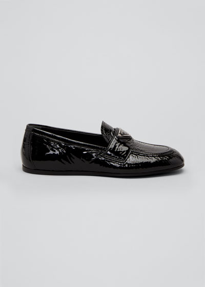 5mm Crinkle Patent Leather Loafers with Triangle Logo