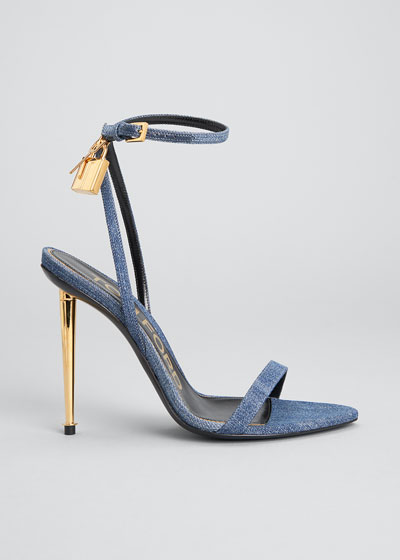 105mm Denim Lock & Key Stiletto Sandals