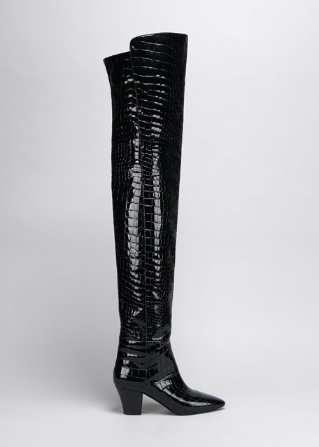 Image 1 of 1: Kim Mock-Croc Thigh Boots