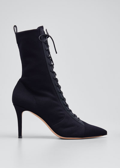 85mm Stretch Lace-Up Stiletto Booties