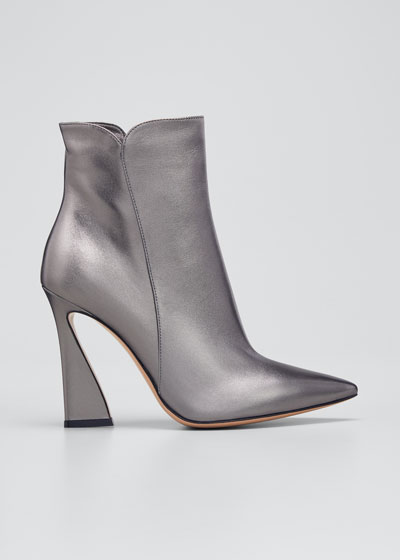 105mm Metallic Zip Ankle Booties