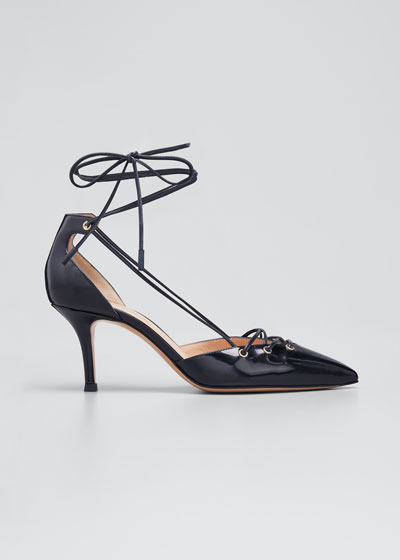 Patent Leather Lace-Up Pumps