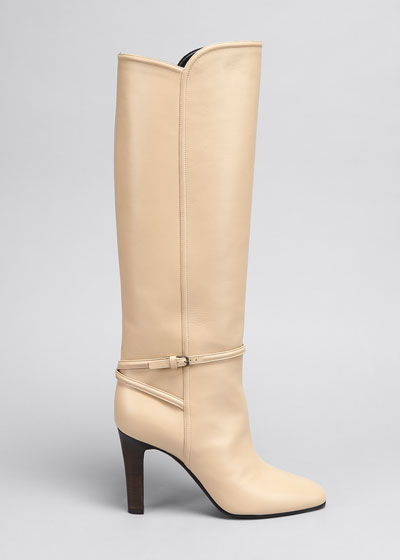 Blu 90mm Leather Buckle Knee Boots