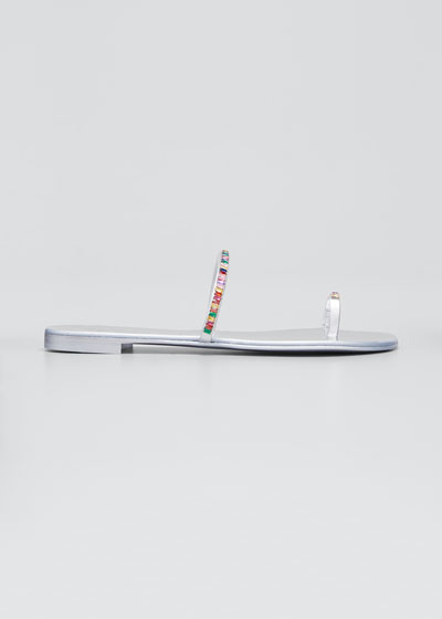 Swarovski Rainbow Toe-Ring Flat Sandals