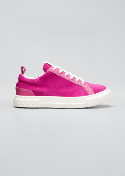 Mixed Leather Low-Top Sneakers