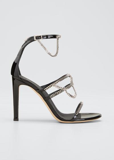 105mm Chain-Trim Tri-Band Stiletto Sandals