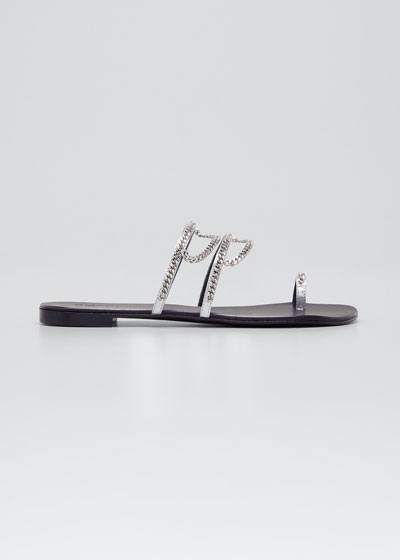 Strappy Chain Toe-Ring Flat Sandals