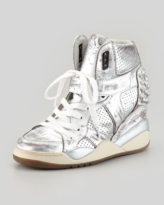 Freak Metallic Studded Sneaker, Silver