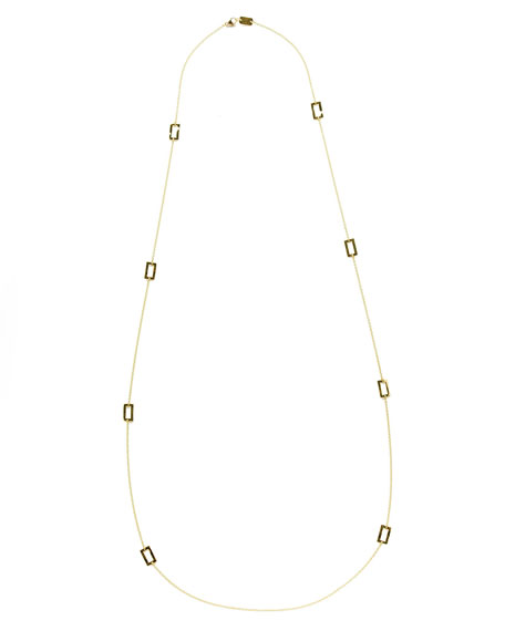"Gold Rectangle-Station Necklace, 40""L"