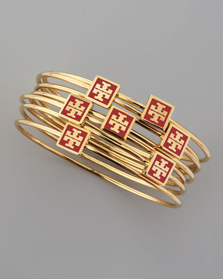 Red Enamel-Logo-Square Bangles, Set of 7