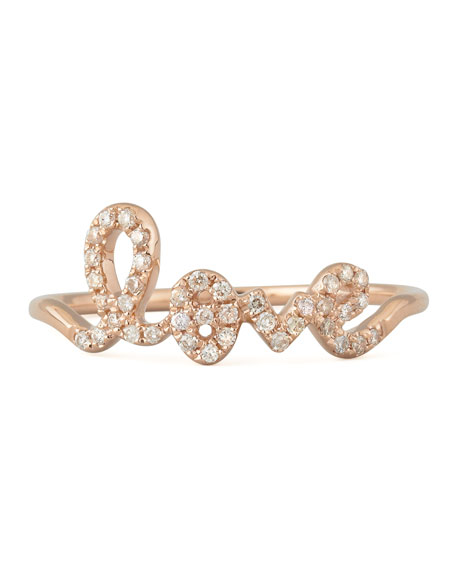 14k Rose Gold Diamond Love Script Ring