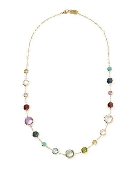 "18k Gold Lollitini Multi-Stone Necklace, 18""L"