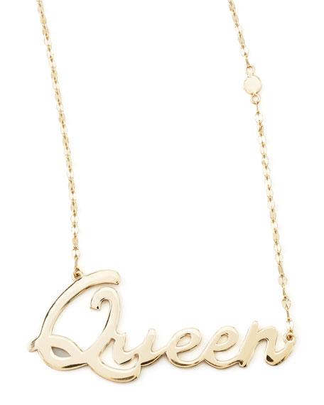 14k Gold Queen Script Pendant Necklace